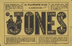 Advert For Jones Sewing Machines